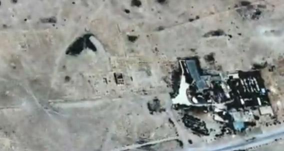 Сателитна снимка на унищожения храм.