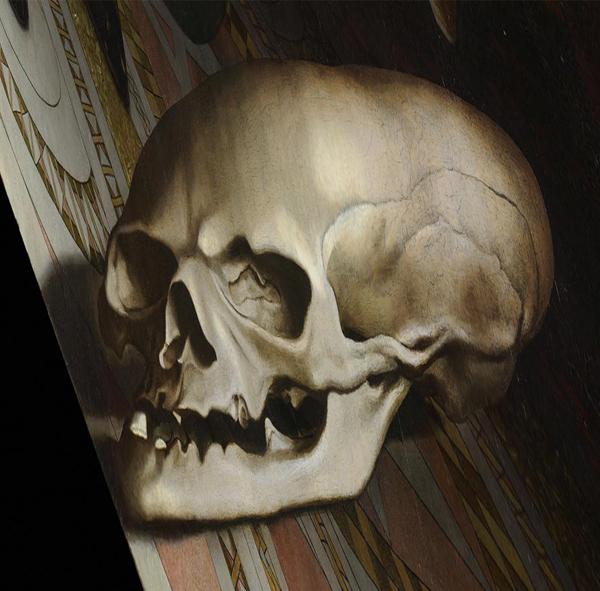 Черепът в средата на картината  е визуален пъзел за зрителя