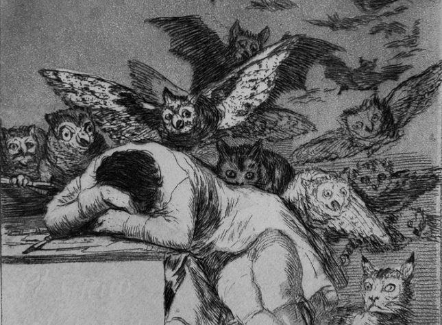 """Франсиско Гоя, """"Сънят на разума ражда чудовища"""", из графичния цикъл """"Капричос"""", 1797-1799, детайл - Сънят на разума ражда пучдемони"""
