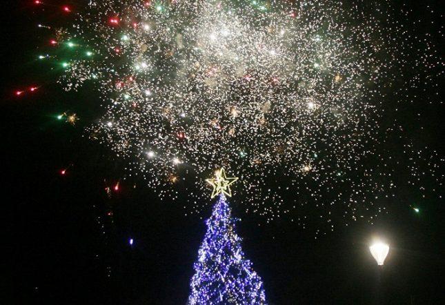 Коледната елха пред НДК е висока 10 метра и е украсена с 2,5 км светещи лампички. Снимки: БГНЕС - Елхата грейна пред НДК (снимки)