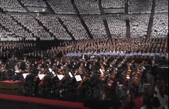 Деветата симфония резонира по особен начин в японците, които винаги са обичали Бетовен. Снимка: Стопкадър от видеото - Коледа и японската масова Ода на радостта (видео)
