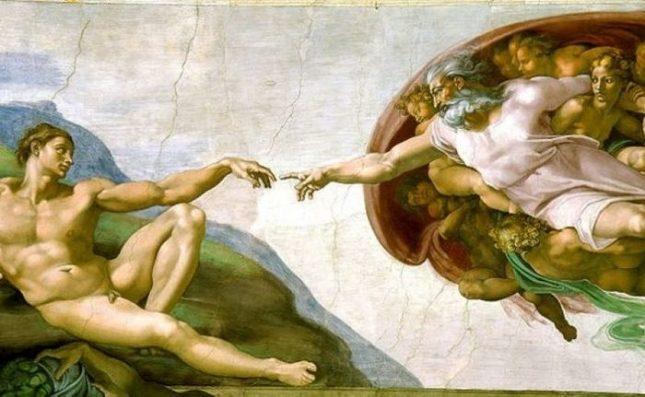 """Идеята на спектакъла """"Страшният съд: Микеланджело и тайните на Сикстинската капела"""" е да се улови духа между твореца и неговия шедьовър. - Актьори играят """"Страшният съд"""" в Сикстинската капела"""