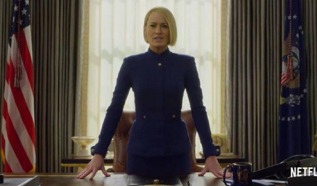 """""""Ние едва сега започваме"""", заявява с желязна физиономия новият президент на САЩ Клеър Ъндъруд. Снимка: Стопкадър от видеото  - Белия дом има нов шеф и тя се казва Клеър (видео)"""
