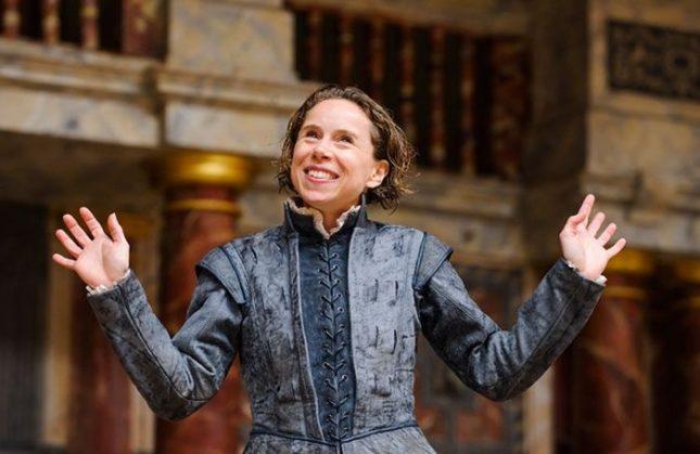 """Мишел Тери в образа на Хамлет. Снимка: Театър """"Глобус"""" - Хамлет е жена – и директор на Шекспировия театър"""