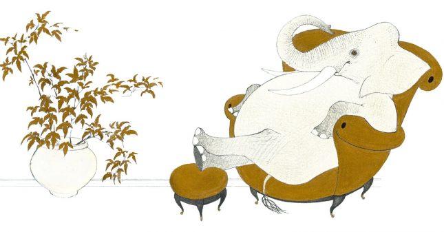 """Илюстрация: Юлиян Табаков, """"Слонът и пеперудът"""", изд. """"Лист"""" - Не малко, много те обичам, каза Къмингс"""