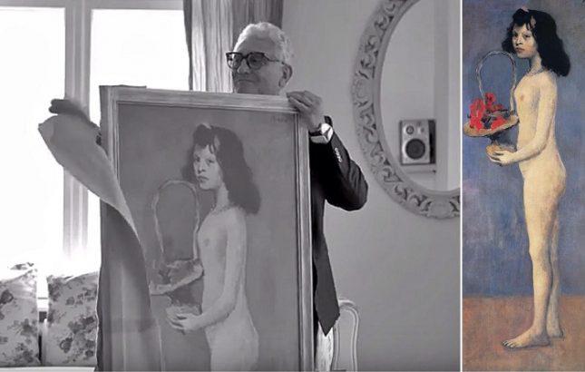 """Вдясно: оригиналът на """"Момиче с кошница цветя"""" на Пабло Пикасо, вляво: """"кражбата"""" на картината в българското видео. - Шега с """"момиче"""" на Пикасо в български клип (видео)"""