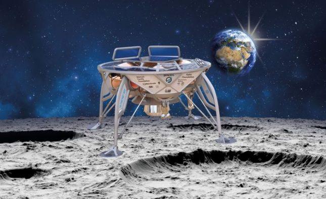 Художествена интерпретация на апарата на SpaceIL върху повърхността на Луната. Илюстрация: SpaceIL - Израел праща робот на Луната
