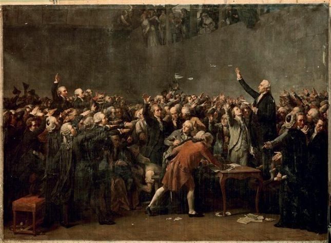 """Огюст Куде, """"Клетва в залата за тенис"""". След Френската революция, на 20 юни 1789 г. депутатите от третото съсловие се събират в залата за тенис и дават клетва да не се разпускат, докато не бъде изработена конституция. - Политиката и нравственият облик на един народ"""