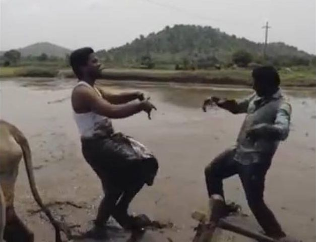 """Анил Геела и Пили Тирупати танцуват в култовото видео на Срирам Срикантх по песента """"In My Feelings"""" на Дрейк. Снимка: Стопкадър - Танцът на двама фермери с волове в калта (видео)"""