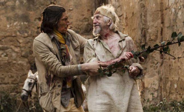 """Адам Драйвър и Джонатан Прайс в сцена от филма на Тери Гилиъм """"Човекът, който уби Дон Кихот"""" - Пиршеството """"Синелибри"""" с книги за гледане"""