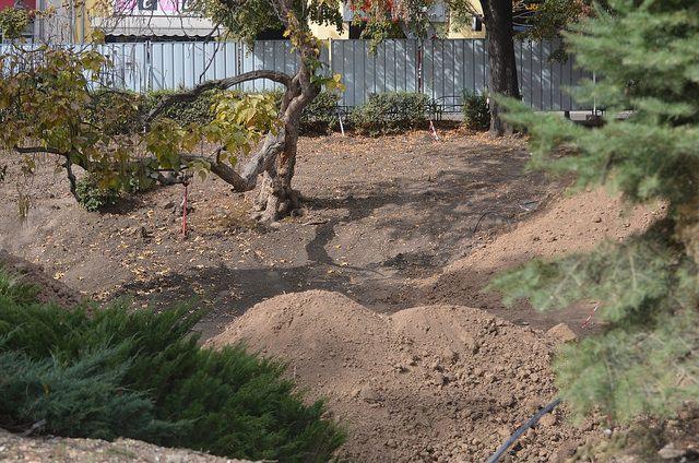 """По неясни причини долчинката в градинката """"Кристал"""" е изцяло изорана. Снимка: Емил Л. Георгиев/Площад Славейков - Излез от дупката, Фандъкова!"""