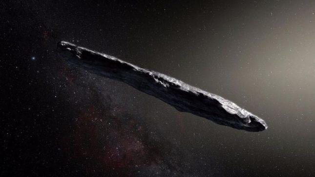 Умуамуа е 10 пъти по-дълъг, отколкото широк, и се движи със скорост от 315 хил. километра в час. Илюстрация: Художествена визуализация - Астероид или космически кораб?
